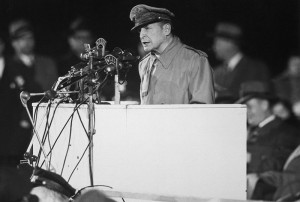 Douglas MacArthur speaking at Soldier's Field after he was relieved.