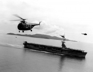 USAF rescue chopper taking off from an American aircraft carrier