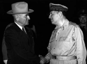 President Harry Truman meets General MacArthur at Wake Island